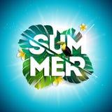 SommarSale design med blomman, tukan och exotiska sidor på blå bakgrund Tropisk blom- vektorillustration med stock illustrationer