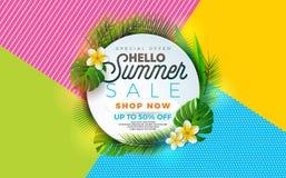 SommarSale illustration med blomman och den tropiska växten på abstrakt färgbakgrund Mall för vektorbanerdesign för royaltyfri illustrationer