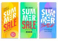 SommarSale ställde vertikalt handtag in upp baner med ljus livlig lutningbakgrund royaltyfri illustrationer