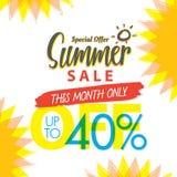 SommarSale uppsättning V 4 40 procent färgrik överskriftdesign för banne royaltyfri illustrationer