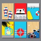 Sommarsamling, loppdesignmall, kort, affisch, baner, vektorillustration Arkivfoton