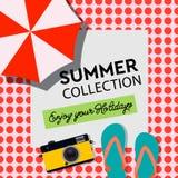 Sommarsamlingen, tycker om din ferie, affischen, loppbanret, strandsemesterorten, illustration Royaltyfri Bild