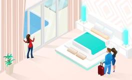 Sommarsemester i isometrisk vektor för lyxigt hotell vektor illustrationer