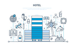 Sommarsemester, lopp Hotell rumreservation, yttersida, inre av byggnad stock illustrationer