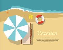 Sommarsemester och turism Chaisevardagsrum och paraply på stranden Infographic symbol vektor illustrationer