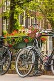 Sommarsikt av cyklar i den holländska staden Amsterdam Royaltyfri Bild