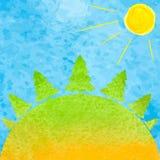 Sommarskogvattenfärg Vattenfärglandskapträd, sol och bl Fotografering för Bildbyråer
