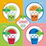 Sommarsmak - frukt & Berry Coctails i Kawaii stil Arkivbilder