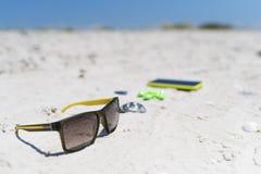 Sommarsol-uppsättning och underhållninghjälpmedel, strandhav, sammansättning, uppsättning Arkivbild