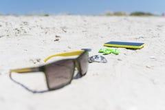 Sommarsol-uppsättning och underhållninghjälpmedel, strandhav, sammansättning, uppsättning Arkivfoton