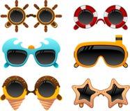 Sommarsolglasögonuppsättning 2 stock illustrationer