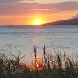 Sommarsolnedgång från Kihei Royaltyfria Bilder
