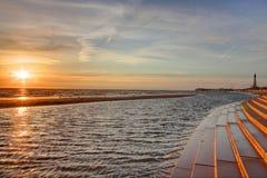 Sommarsolnedgång i Blackpool Royaltyfri Foto