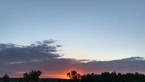Sommarsolnedgång i fältet lager videofilmer