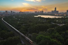 Sommarsolnedgångglöd i Kina Royaltyfri Foto