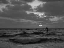Sommarsolnedgångsikt av en strand under en molnig himmel, enkel manlig surfare som paddlar på fot på en sup royaltyfri foto