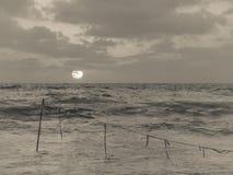 Sommarsolnedgångsikt av en strand under en molnig himmel i svartvitt, rep med flaggor som hänger på en stolpe i vattnet royaltyfria foton