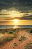 sommarsolnedgång Arkivfoto