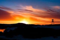 Sommarsolnedgång i Antarktis Royaltyfria Bilder
