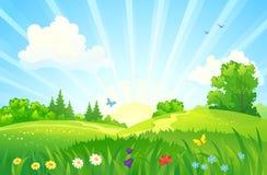 Sommarsoluppgånglandskap royaltyfri illustrationer