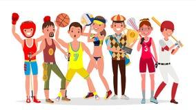 Sommarsportvektor Uppsättning av spelare i boxning som fotvandrar, basket, volleyboll, golf, lacrosse, baseball Isolerat på vektor illustrationer