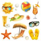 Sommarstrand, uppsättning av vektorsymboler royaltyfri illustrationer