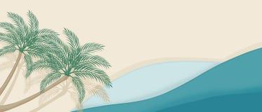 Sommarstrandbakgrund med kurvvågor och palmträd stock illustrationer