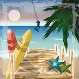 Sommarstrandbegrepp med surfaren, vektor royaltyfri illustrationer