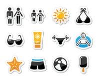 Sommarstranden semestrar symbolsuppsättningen Arkivfoton