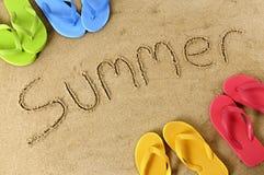 Sommarstrandhandstil fotografering för bildbyråer