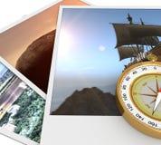 Sommarstrandskott och kompass - natur och lopp Arkivbilder
