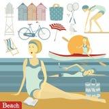 Sommarstranduppsättning vektor illustrationer