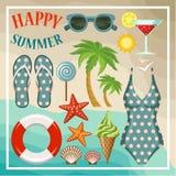Sommarstranduppsättning. stock illustrationer
