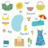 Sommarsymboler ställde in, den roliga designen - för semestrar, lopp Arkivbilder