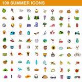 100 sommarsymboler uppsättning, tecknad filmstil stock illustrationer