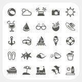 Sommarsymbolsuppsättning Arkivbilder