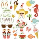 Sommarsymbolsuppsättning stock illustrationer