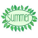 Sommartecken med sidor runt om oval ram Vektor Illustrationer