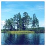 Sommartid på en sjö i östliga Norge Arkivbilder