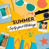 Sommartidbakgrund, tycker om din ferie, mode, den glamorösa modeuppsättningen av tillbehör för sommar för kvinna` s, vektor vektor illustrationer