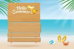 Sommarträtecken på tropisk strandbakgrund Royaltyfria Foton