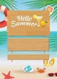 Sommarträtecken på tropisk strandbakgrund Arkivfoto