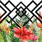 Sommartryck av exotiska djungelväxter av tropiska palmblad Modell sömlös blom- modell på ett svart vitt geometriskt stock illustrationer