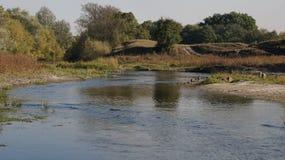 SommarUkraina Dnepr flod Dnipro Arkivfoto