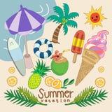 Sommaruppsättningen av tecknad filmdesignen vektor illustrationer
