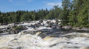 Sommarvattenlandskap Vattenfall Kivakkakoski, Kivakksky ingång i Karelia Arkivfoton