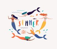 Sommarvektorillustration med sjöjungfrun under havet Arkivfoto