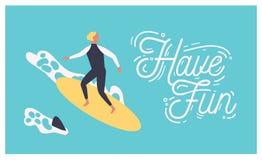 Sommarvykortmallen med den manliga surfaren på surfingbrädan eller mannen som surfar i havet eller havet och, har den roliga önsk stock illustrationer