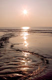 The Somme bay sunset - France. Sunset in the Somme bay in north of France stock image