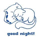Sommeil Cat Contour Doodle, illustration de bonne nuit de vecteur Image libre de droits